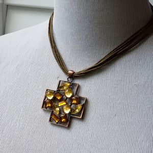 Copper-tone Chunky Jeweled Cross Corded Necklace